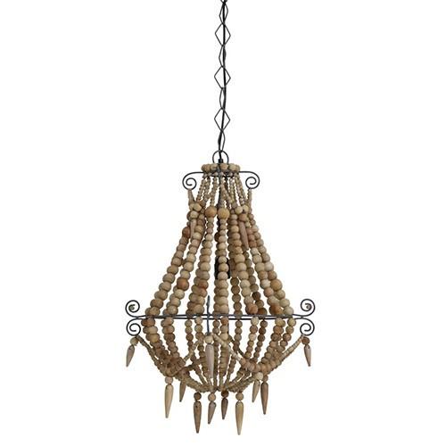 **Landelijke kralen hanglamp hout klein