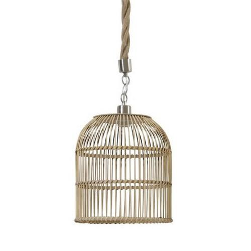 **Landelijke hanglamp riet/touw keuken