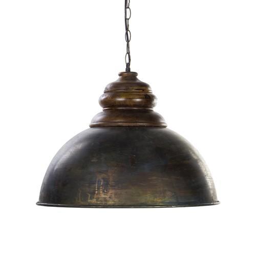 *Antiek metalen hanglamp met hout 52 cm