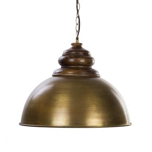 *Landelijke hanglamp brons/ hout L&L