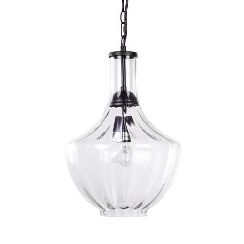 Heldere glazen hanglamp met zwart metaal