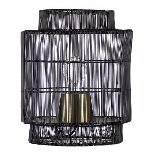 Zwarte draad tafellamp met brons