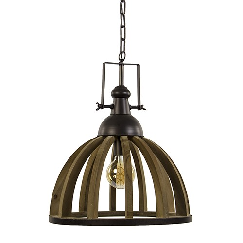 landelijk industriele hanglamp hout/zink | straluma