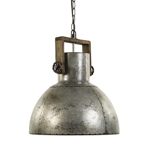 Hanglamp grijs staal met hout
