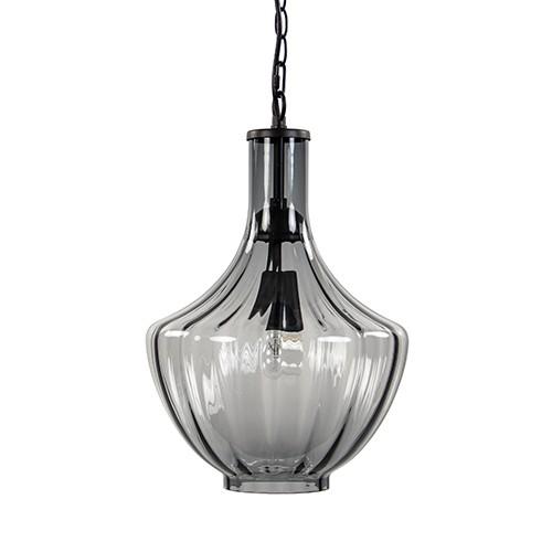 Hanglamp smoke glas met zwart klein