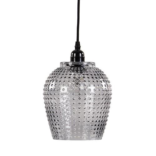 Smokey hanglamp gebobbeld glas