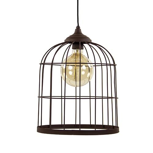 *Metalen hanglamp kooi roestbruin