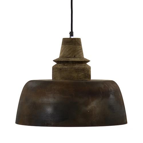 *Metalen hanglamp roest met hout
