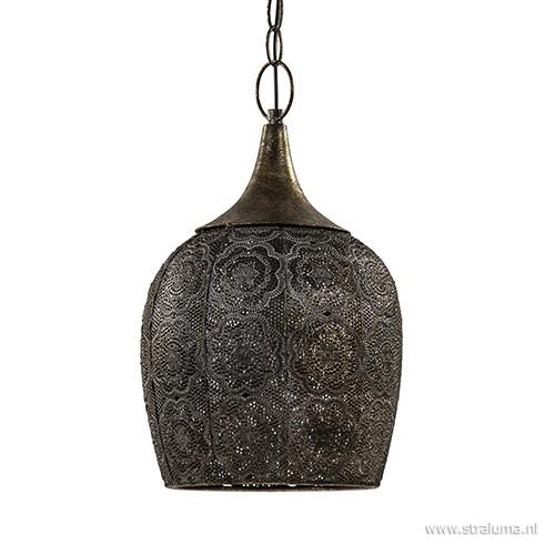 Kleine oosterse hanglamp metaal brons