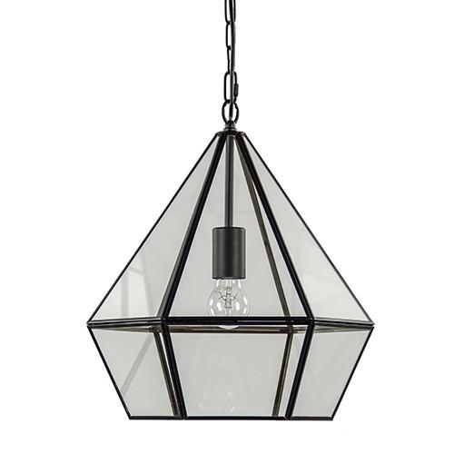 Hidaya hanglamp-lantaarn zwart met glas