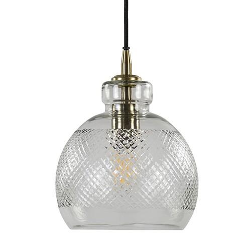 Hanglamp Destiney helder glas met brons