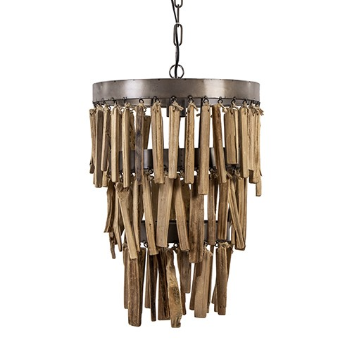 Landelijke hanglamp Jaloe rond met hout