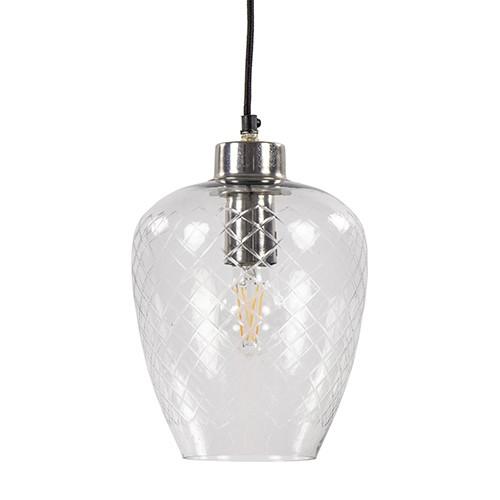 Moderne hanglamp Gisela nikkel met glas