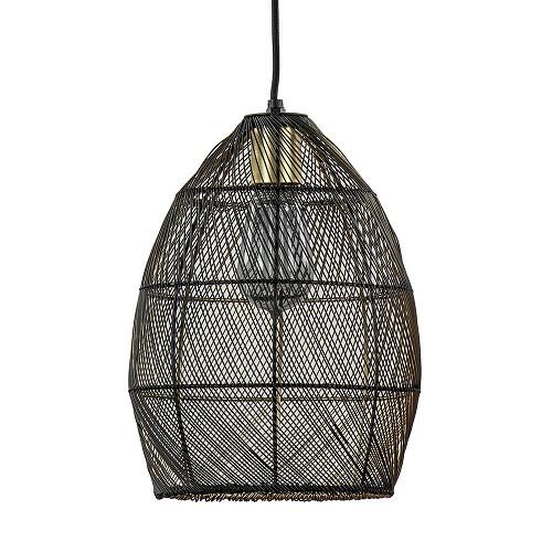 Moderne draad hanglamp Meya zwart met goud