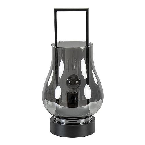 Light & Living tafellamp Amanda smoke glas met zwart