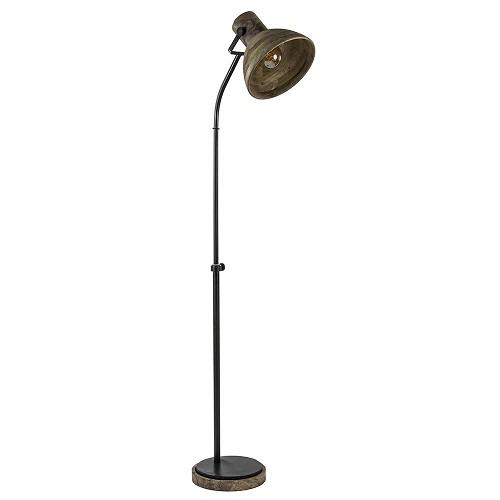 Landelijk industriële vloerlamp Imbert metaal met hout
