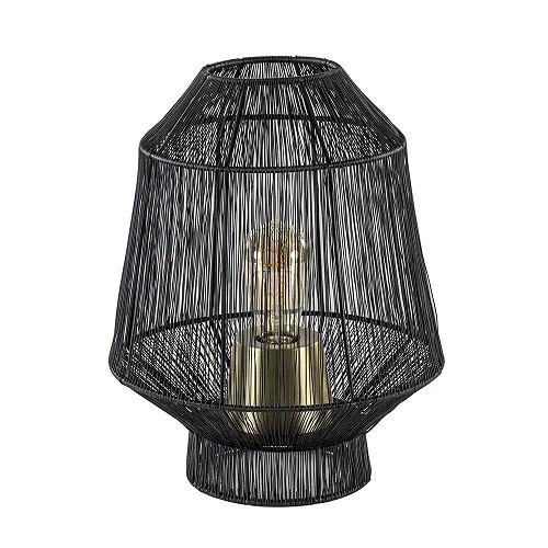 Tafellamp Vitora mat zwart met bronzen fitting