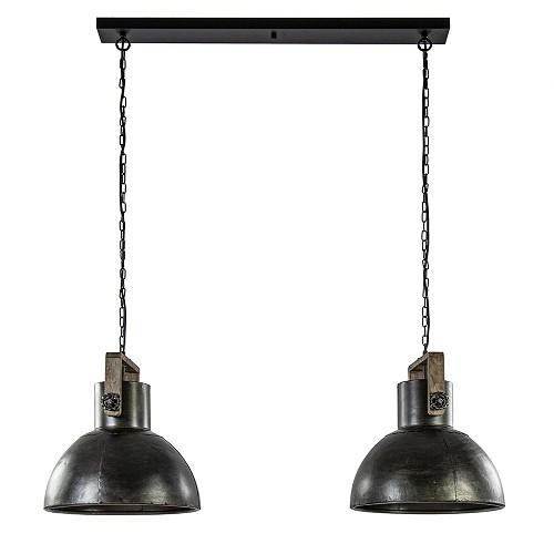 Landelijke 2-lichts hanglamp Shelly bruin metaal met hout