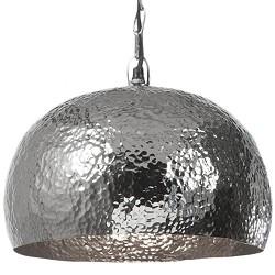 * Hanglamp zilver hamerslag koepel