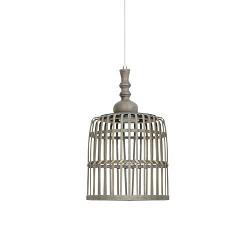 *Landelijke hanglamp Malakka mand hout