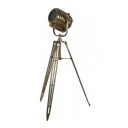 Robuuste brons vloerlamp driepoot antiek