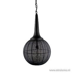 Zwarte draad hanglamp bol met kegel