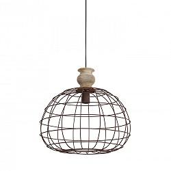 Hanglamp bol landelijk met houten knop