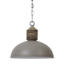 Landelijke hanglamp grijs met hout Avery
