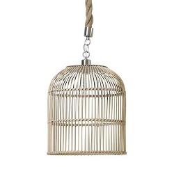 **Landelijke hanglamp riet en touw 35 cm