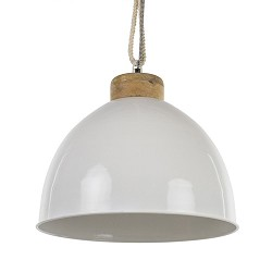 Witte hanglamp Melissa touw/ hout L&L