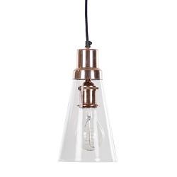Glazen hanglamp June met koper
