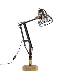 Verstelbare bureaulamp metaal met hout