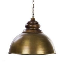 Landelijke hanglamp brons met houten kop