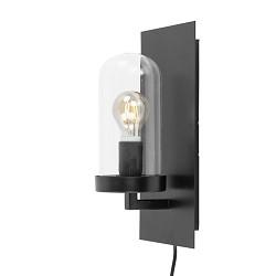 Zwarte wandlamp met glazen stolp