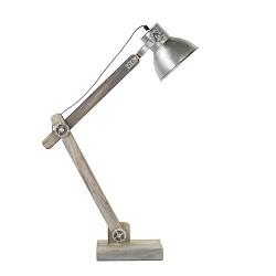 Grijze tafellamp hout met staal