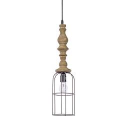 Landelijke draadhanglamp met hout