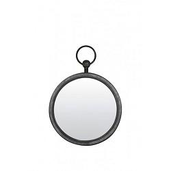 Ronde metalen spiegel zink/grijs klein