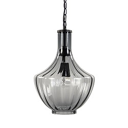 *L&L hanglamp smoke glas zwart klein