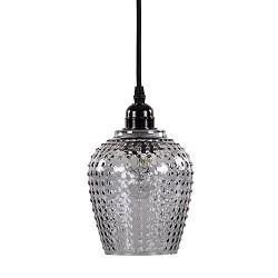 Kleine hanglamp glas met zwart snoer