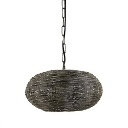 **Kleine hanglamp rond metaal grijs