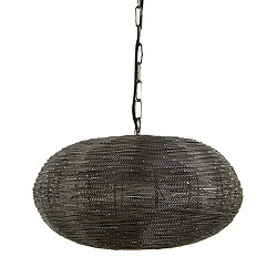 Ronde hanglamp metaalgrijs Light Living
