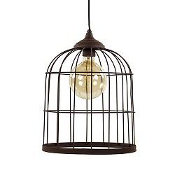 Metalen hanglamp kooi roestbruin