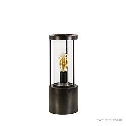 Metalen tafellamp-lantaarn met glas