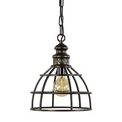 Metalen hanglamp kooi oud brons