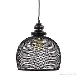 Zwart metalen hanglamp rond met gaas