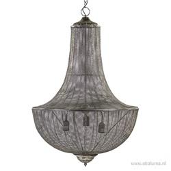 Grote hanglamp-kroon antiek zilver 3L