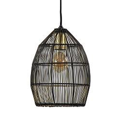 Kleine hanglamp Meya zwart met goud draad