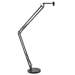 Verstelbare booglamp Bristen zwart met marmeren voet