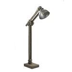 **Grijze houten vloerlamp met staal