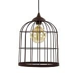 *Metalen hanglamp kooi roestbruin L&L